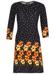 Dot And Flower Print Tunic Dress
