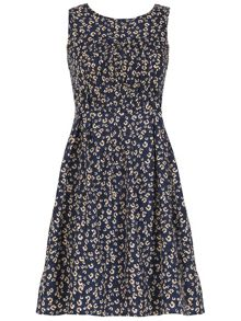Sleeveless Ditsy Flower Print Dress
