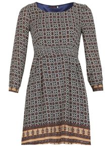 Quarter Sleeve Geo Print Dress