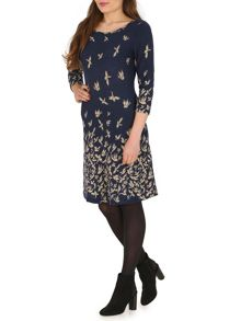 Bird Print 3/4 Sleeve Tunic Dress
