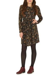 Full Sleeve Owl Print Tunic Dress