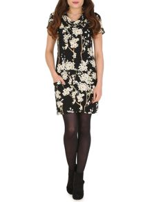 Cowl Neck Flower Print Tunic Dress