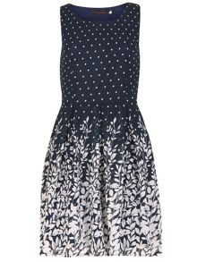 TENKI Polka Dot And Flower Print Dress