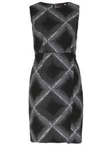 TENKI Geometric Print Wrap Front Split Dress