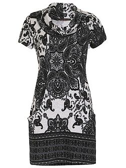TENKI Cowl Neck Paisley Print Tunic Dress