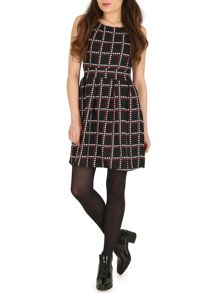 TENKI Hounds Tooth Block Print Dress
