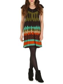 Cap Sleeve Patterned Tunic Dress