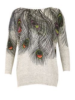 Peacock Feather Embellished Jumper