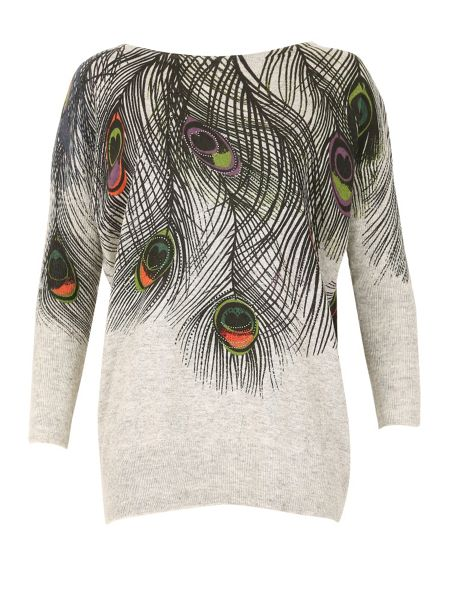 TENKI Peacock Feather Embellished Jumper