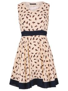 TENKI Bird Print Bordered Dress