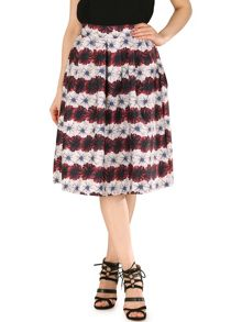 TENKI Stripe Flower Print Skater Skirt
