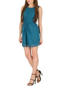 TENKI Plain Chiffon Dress With Pleated Front