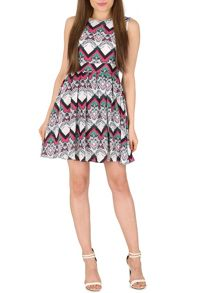 TENKI Patterned Flare Skirt Dress