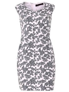 TENKI V-Neck Rose Print Dress