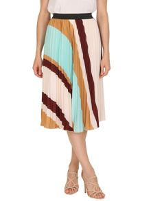 TENKI Stripy Pleated Midi Skirt