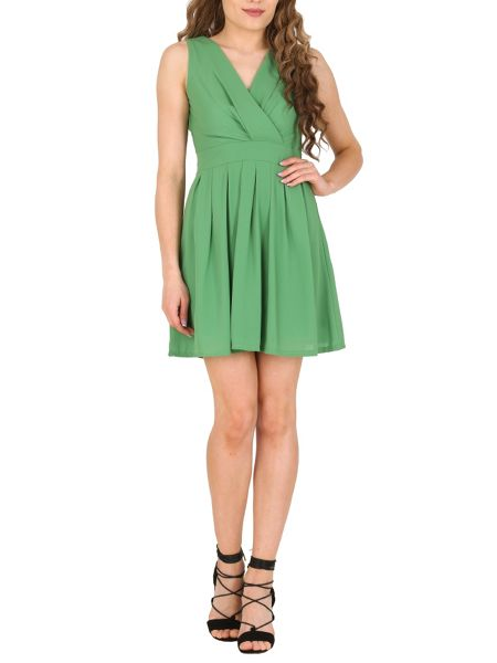 TENKI Plain V-Neck Chiffon Dress
