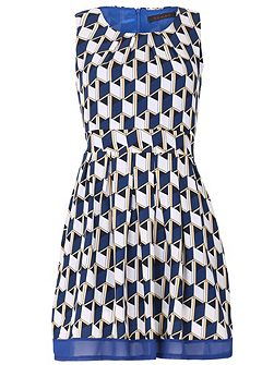 Geo Patterned A-Line Dress