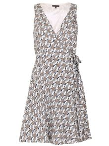 TENKI V-Neck Flower Print Wrap Dress