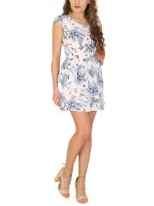 TENKI Cap Sleeve Flower and Bird Print Dress