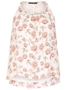 TENKI Flower Print Beaded Neck Cami Top