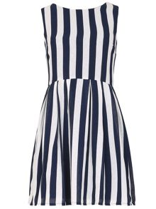 TENKI Sleeveless Striped Skater Dress