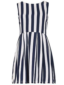 Sleeveless Striped Skater Dress