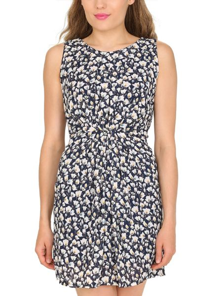 TENKI Tulip Print Tie At The Back Dress