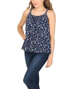 TENKI Floral Print Beaded Neck Top