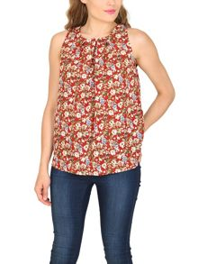 TENKI Sleeveless Floral Print Top