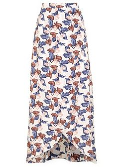 Leaf Print Wrap Front Maxi Skirt