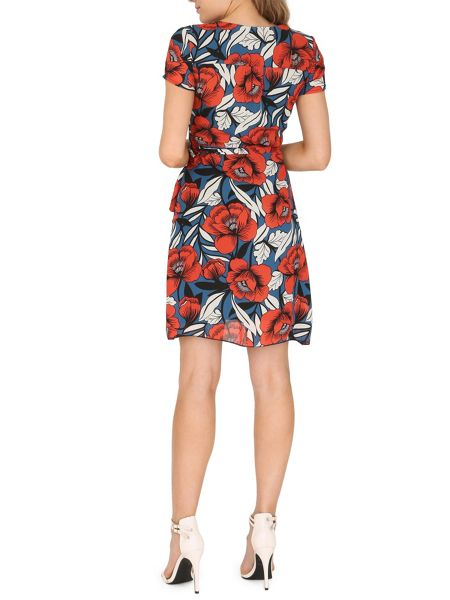 TENKI Floral Print V-Neck Wrap Dress