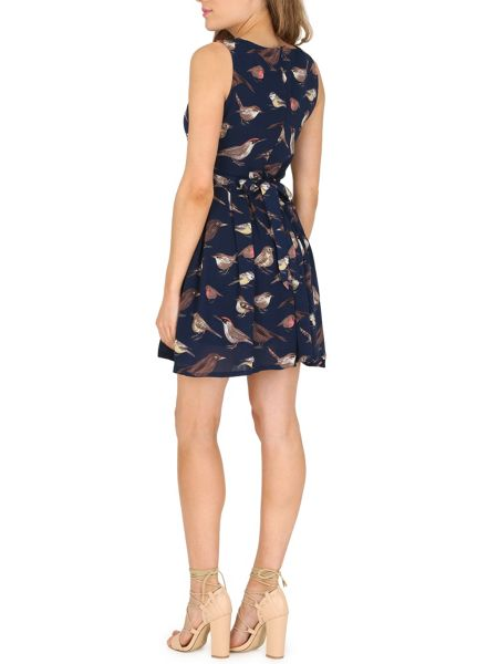 TENKI Sleeveless Bird Print Skater Dress