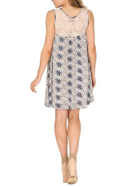 TENKI Patterned Lace Insert Sleeveless Dress