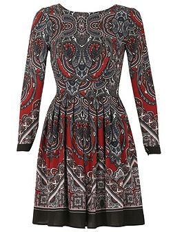 Paisley Print Full Sleeve Dress