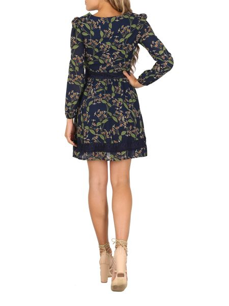 TENKI Full Sleeve Lace Insert Floral Dress