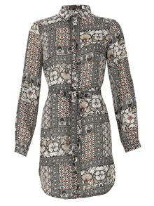 TENKI Printed Shirt Dress With Tie Belt