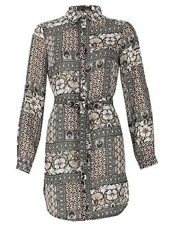 Printed Shirt Dress With Tie Belt