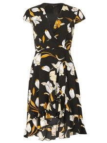 TENKI V-Neck Floral High Low Wrap Dress