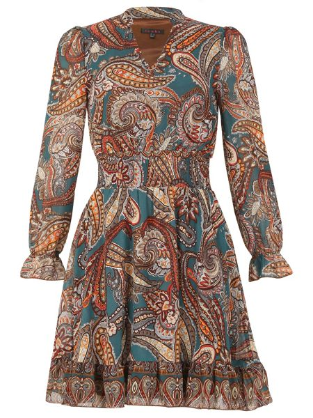 TENKI V-Neck Paisley Print Ruffled Dress