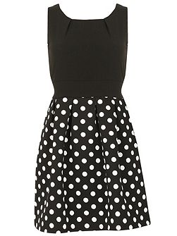 Two Tone Polka Dot Skater Dress