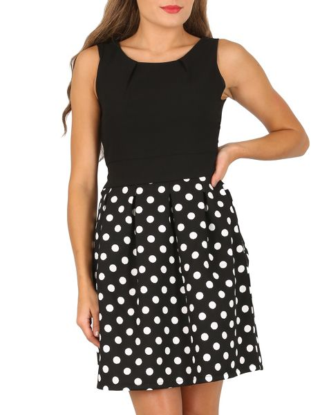 TENKI Two Tone Polka Dot Skater Dress