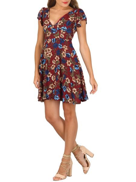TENKI V-Neck Floral Print Skater Dress