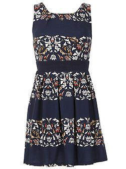 Two Tone Floral Skater Dress