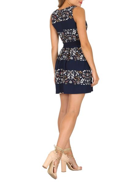 TENKI Two Tone Floral Skater Dress