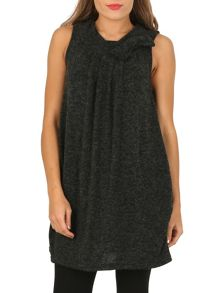 TENKI Plain Bow Neck Shift Tunic Dress