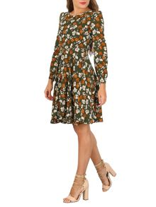 TENKI Full Sleeve Floral Skater Dress