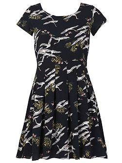 Cap Sleeve Flying Bird Print Dress