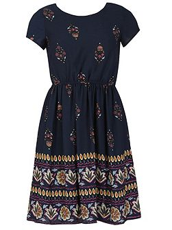Short Sleeve Paisley Print Dress
