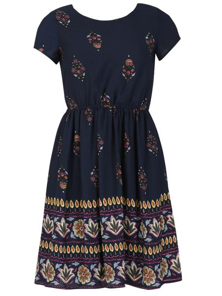 TENKI Short Sleeve Paisley Print Dress