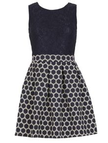 TENKI Sleeveless Two Tone Polka Dot Dress